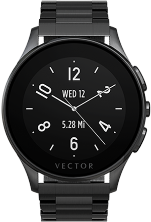 Smart Wearable Gear – VECTOR LUNA SMART WATCH – Brushed Black with Black Steel Bracelet