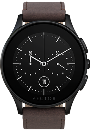 Smart Wearable Gear – VECTOR LUNA SMART WATCH – Brushed Black with Brown Leather Strap